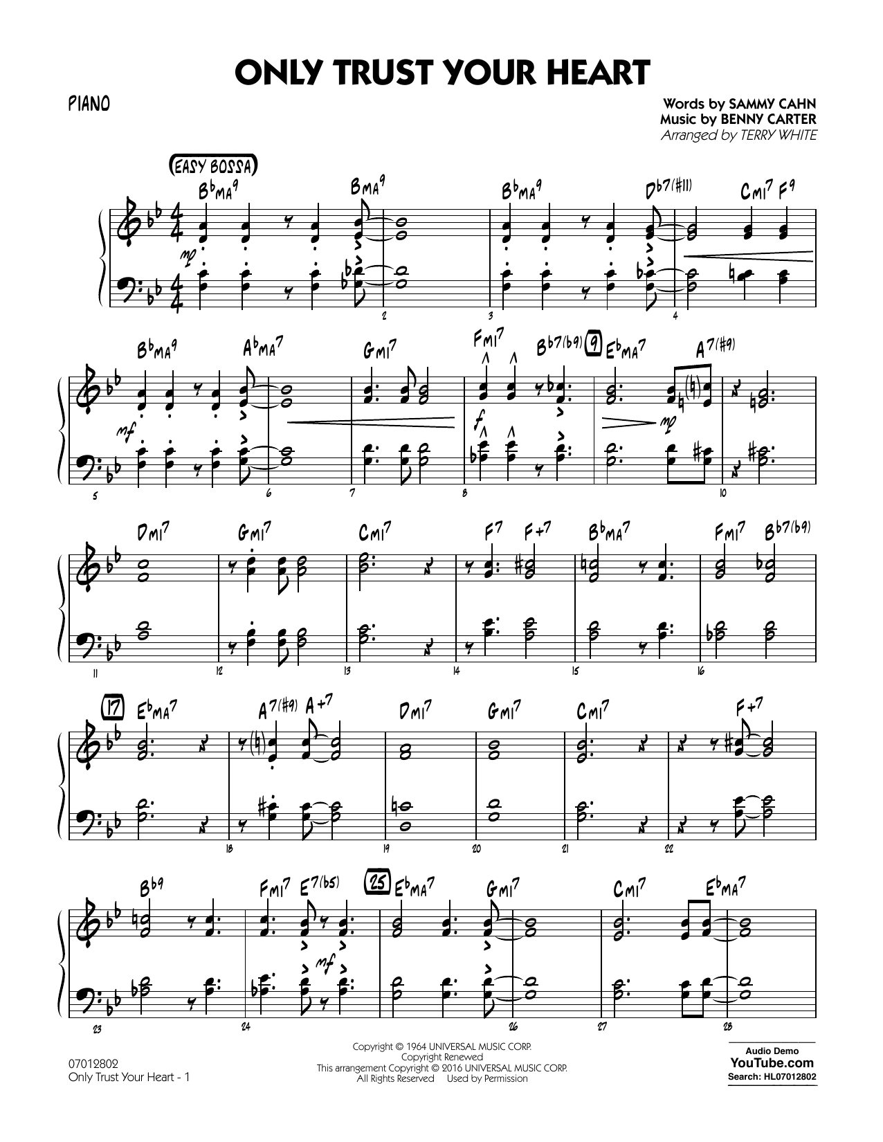 Only Trust Your Heart - Piano (Jazz Ensemble)