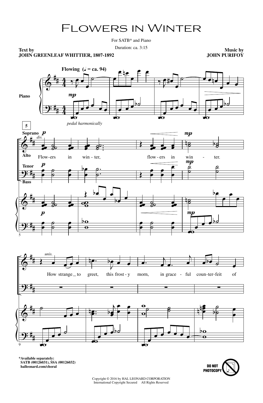 Flowers In Winter Sheet Music