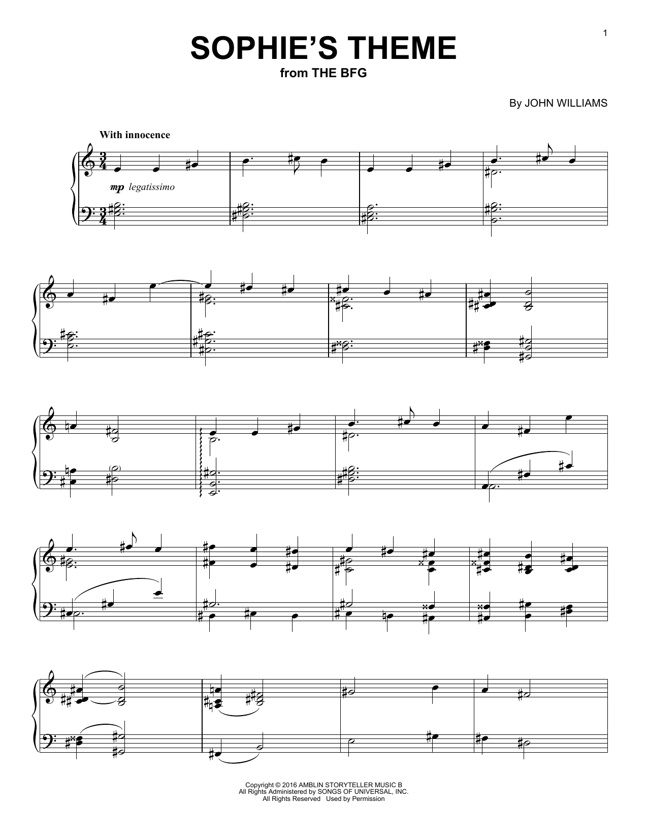 Sophie's Theme Sheet Music