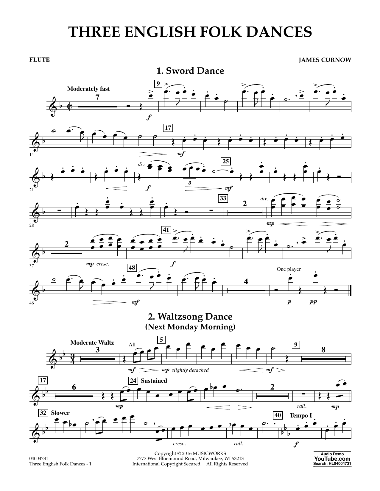 Three English Folk Dances - Flute (Concert Band)
