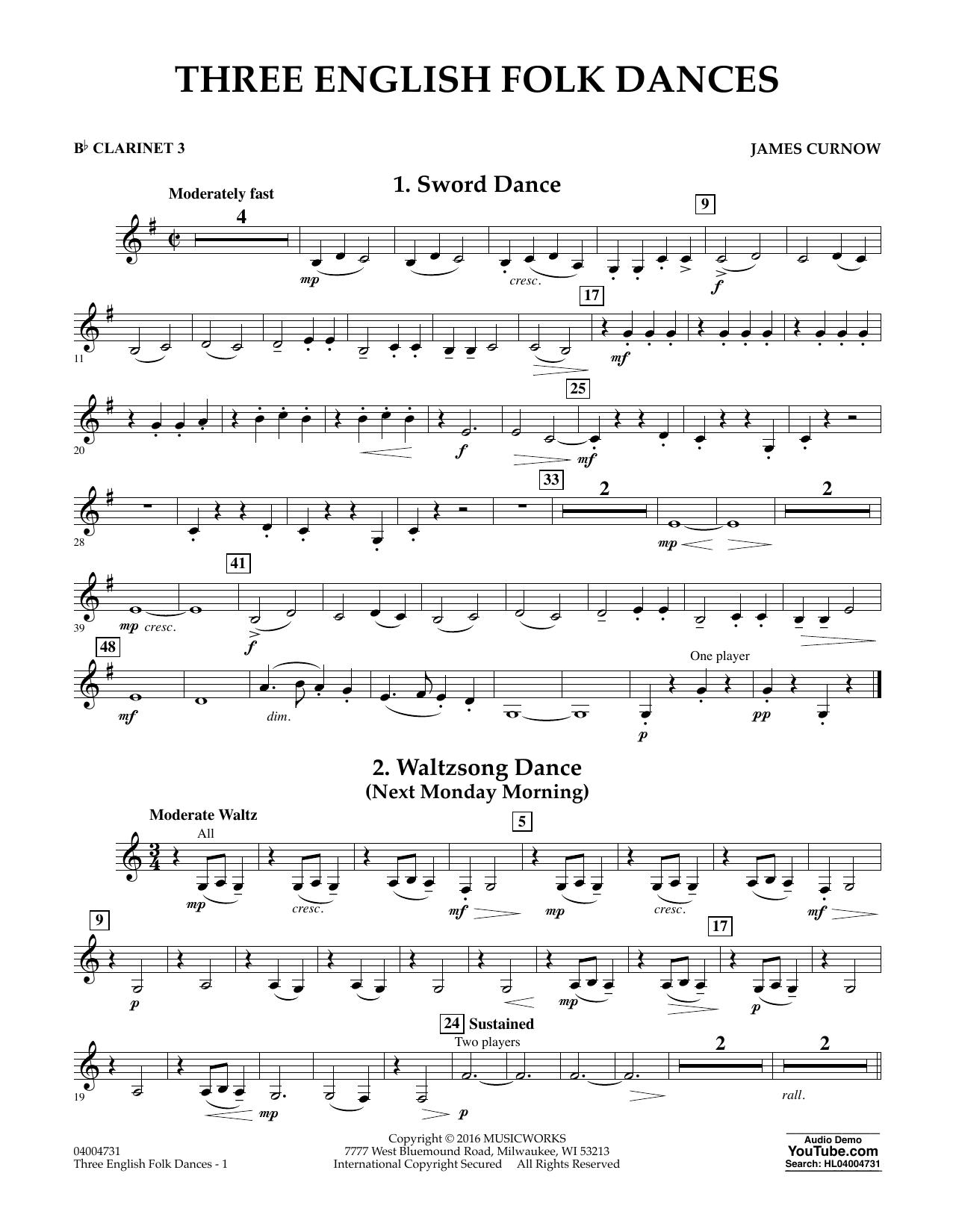 Three English Folk Dances - Bb Clarinet 3 (Concert Band)