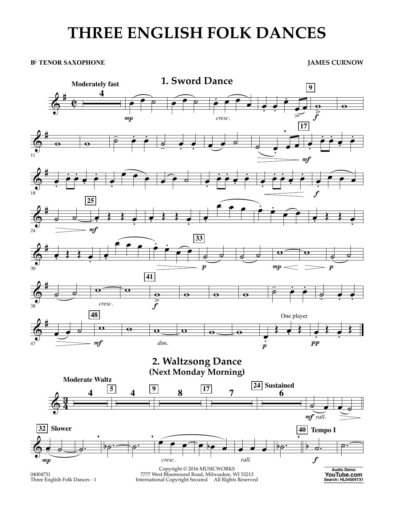 Three English Folk Dances - Bb Tenor Saxophone (Concert Band)