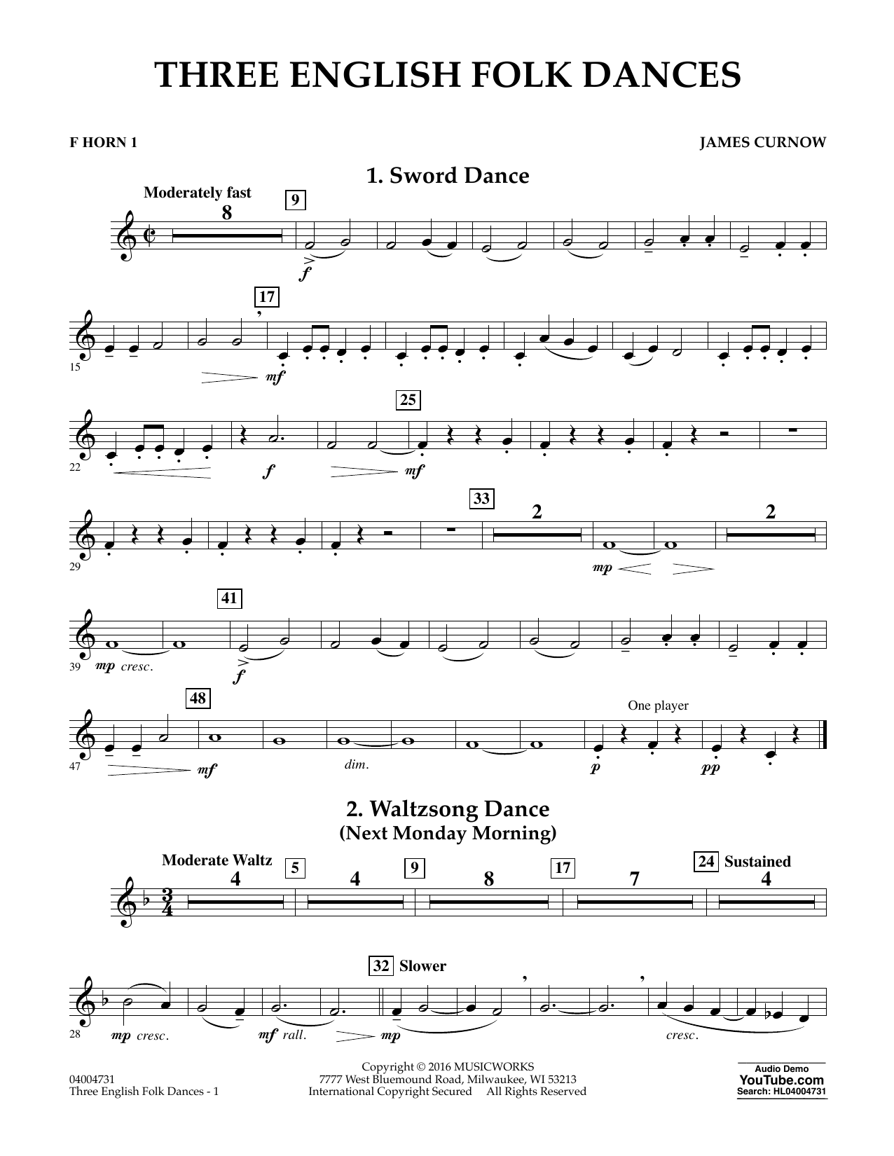 Three English Folk Dances - F Horn 1 (Concert Band)