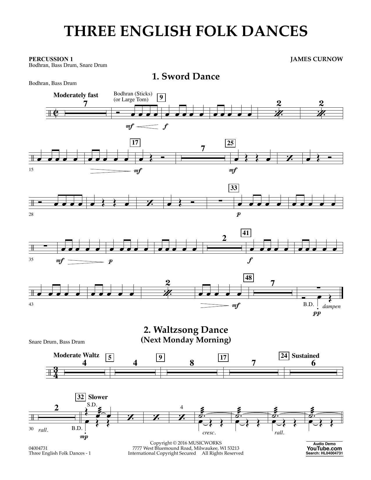 Three English Folk Dances - Percussion 1 (Concert Band)