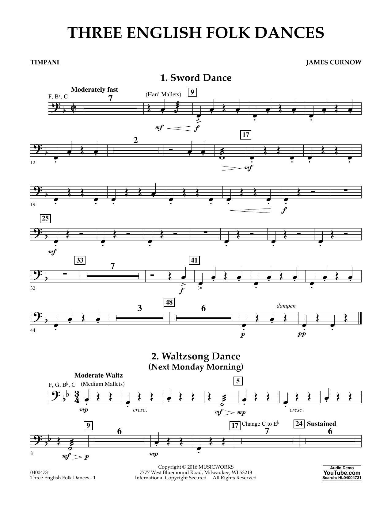Three English Folk Dances - Timpani (Concert Band)