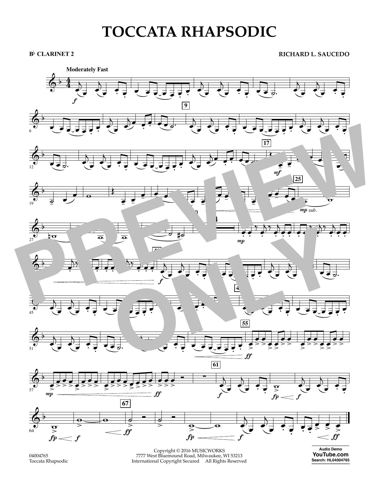 Toccata Rhapsodic - Bb Clarinet 2 (Concert Band)