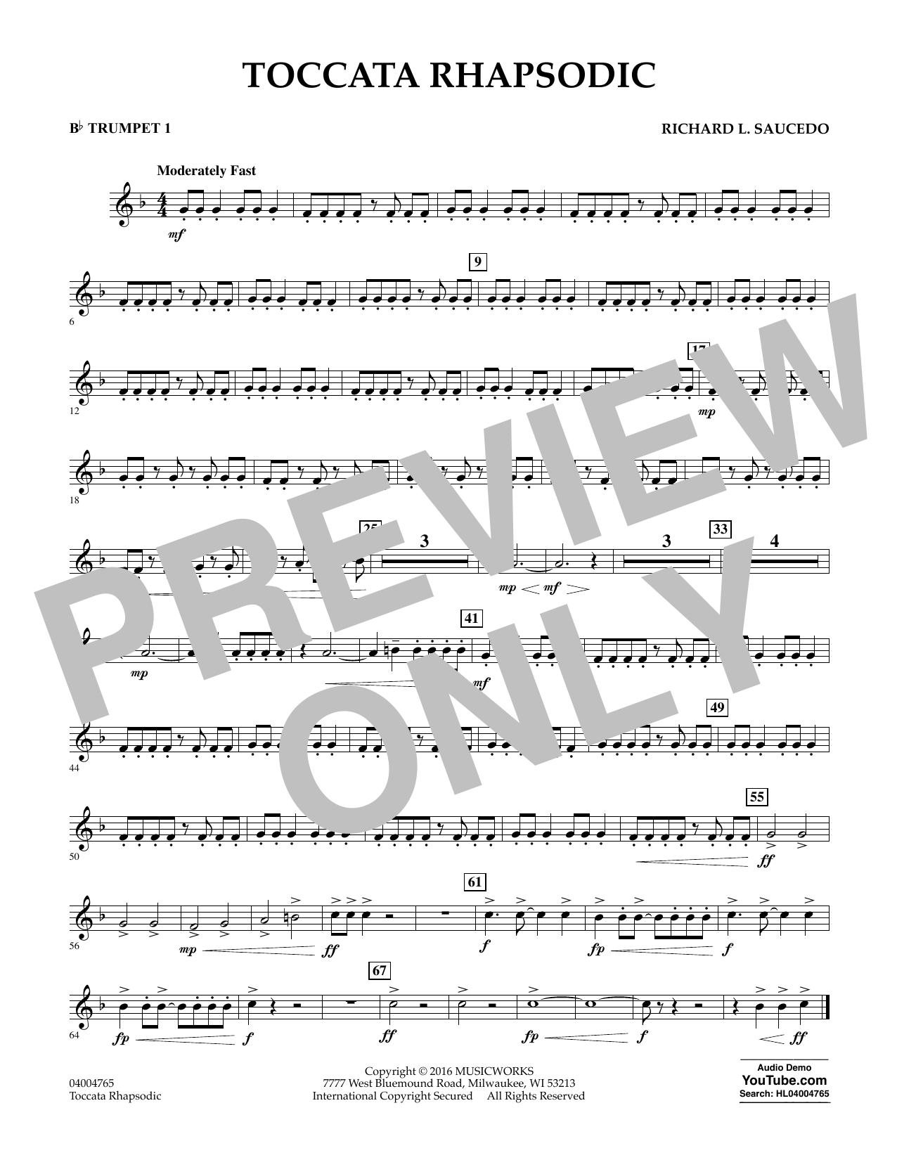 Toccata Rhapsodic - Bb Trumpet 1 (Concert Band)