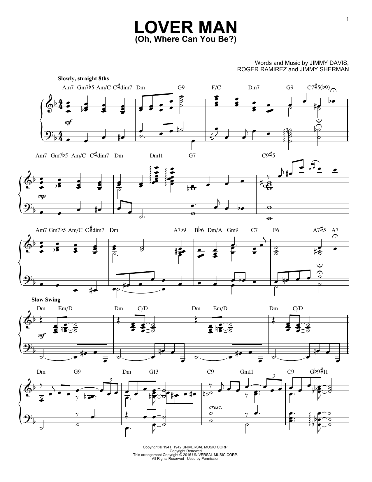 Lover Man (Oh, Where Can You Be?) Sheet Music