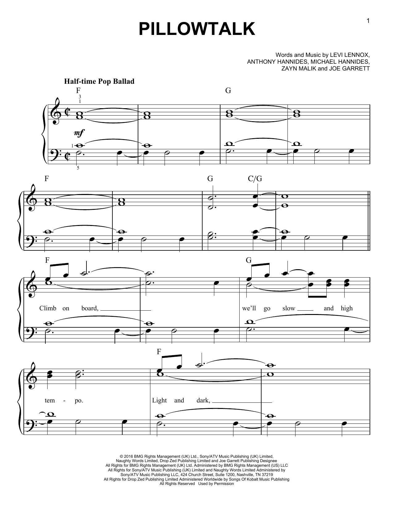 Pillowtalk Sheet Music