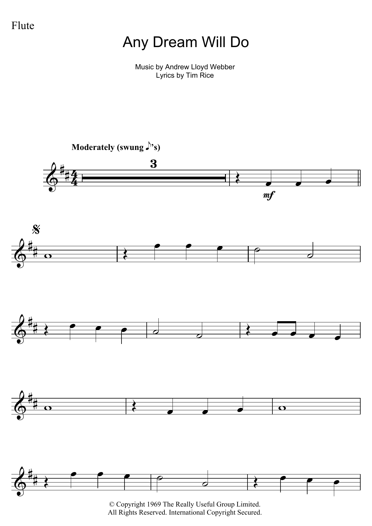 Any Dream Will Do (from Joseph And The Amazing Technicolor Dreamcoat) (Flute Solo)