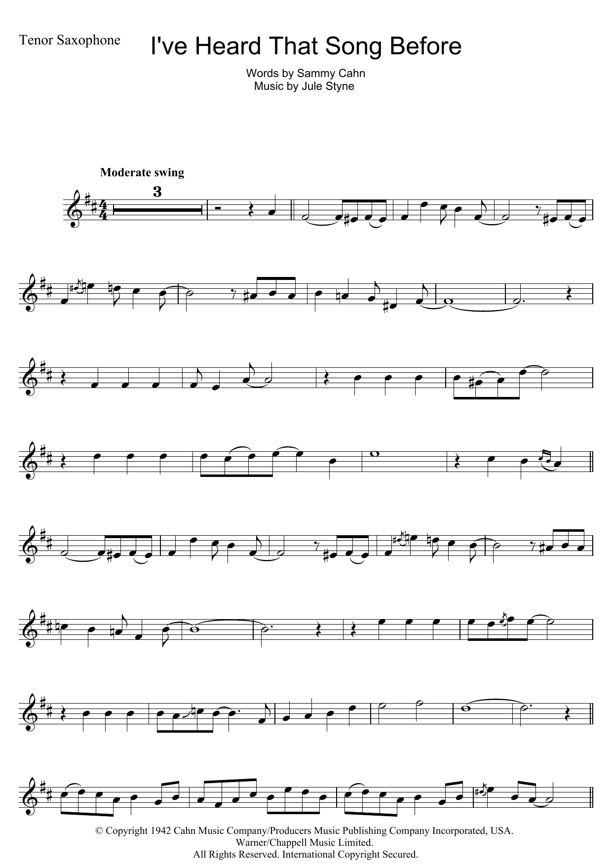I've Heard That Song Before (Tenor Sax Solo)