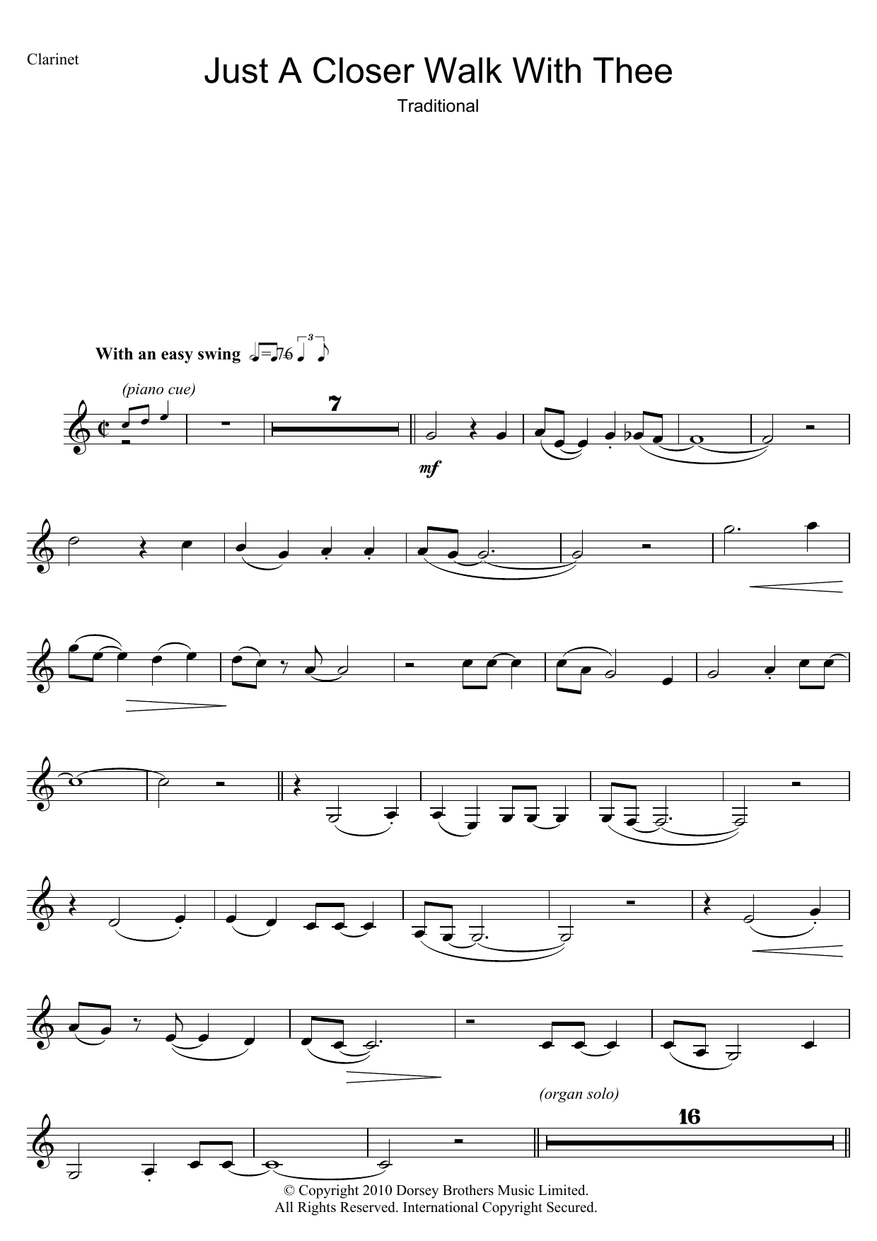 Just A Closer Walk With Thee (Clarinet Solo)