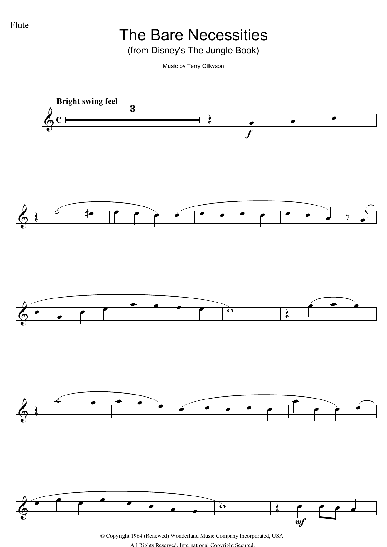 The Bare Necessities (from Disney's The Jungle Book) (Flute Solo)