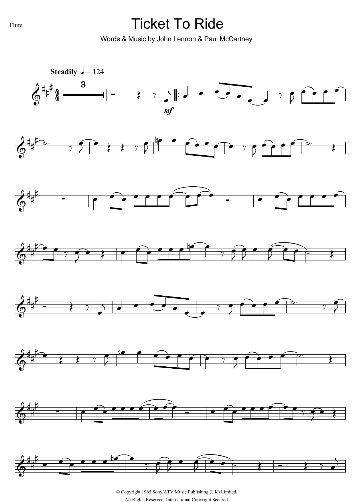 Ticket To Ride (Flute Solo)