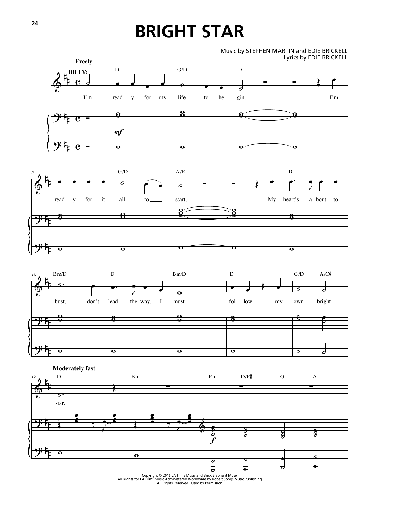 Bright Star Sheet Music