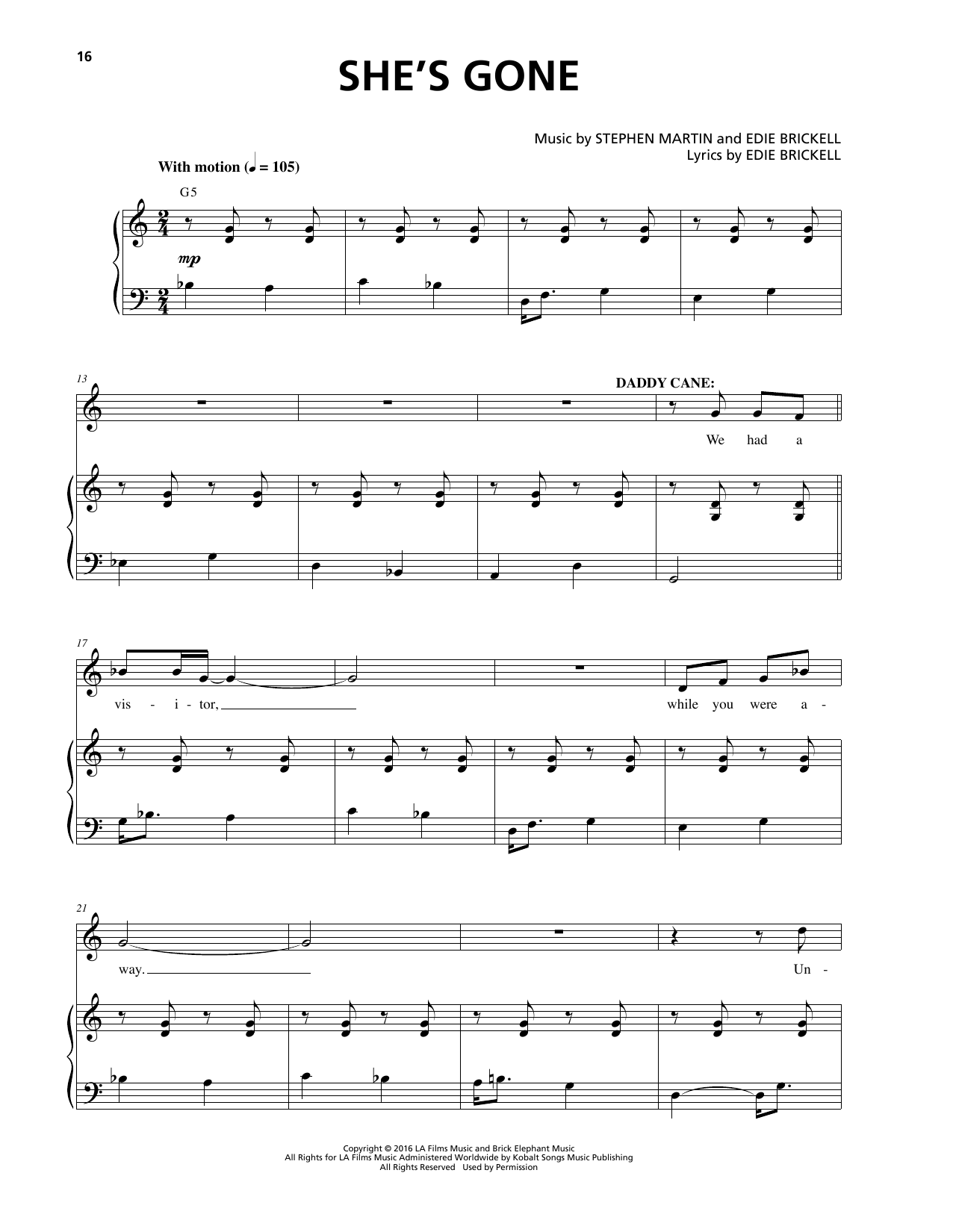 She's Gone Sheet Music