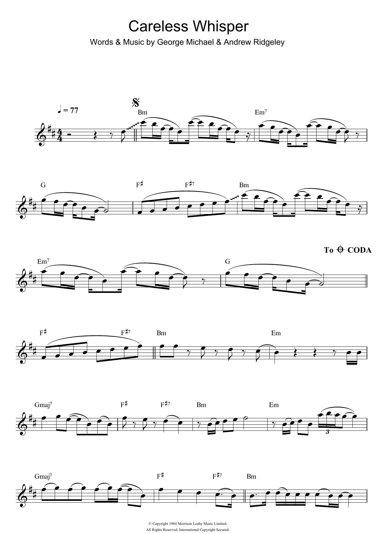Careless Whisper Sheet Music George Michael Flute