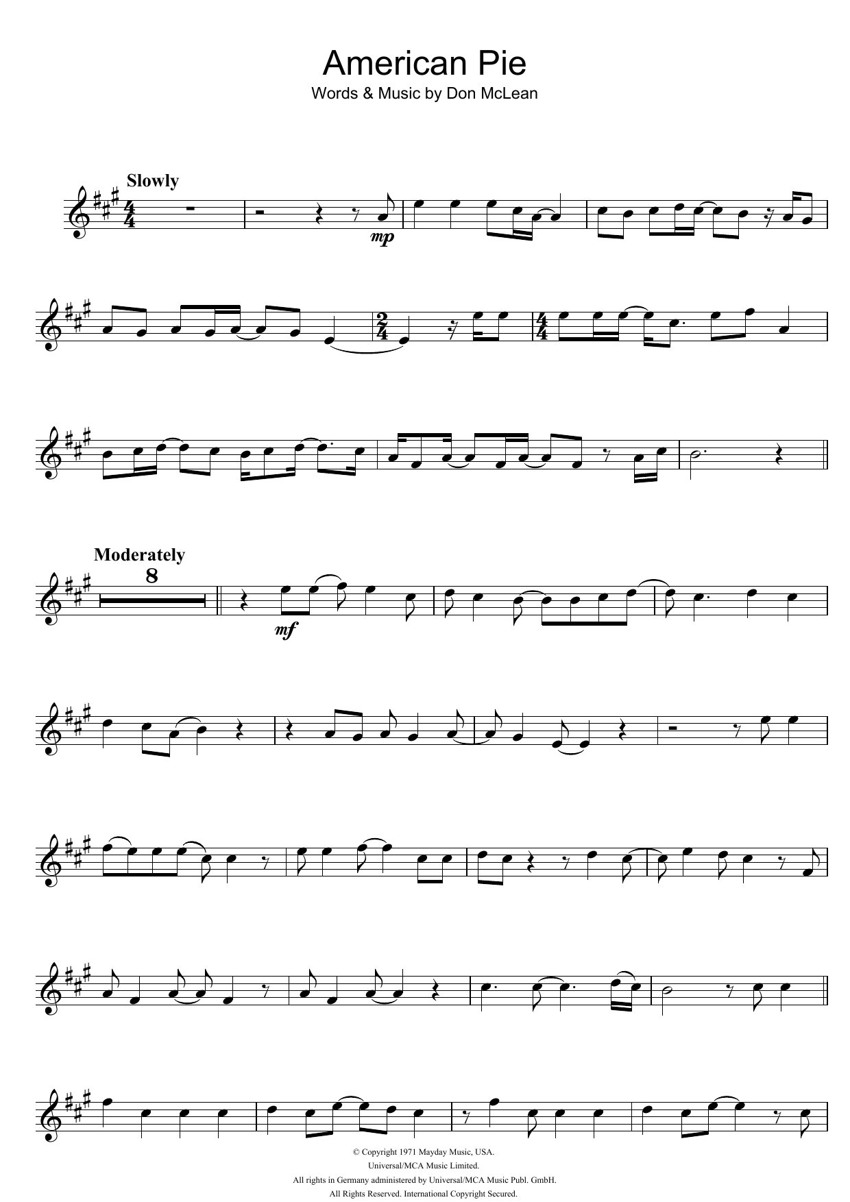 American Pie Sheet Music