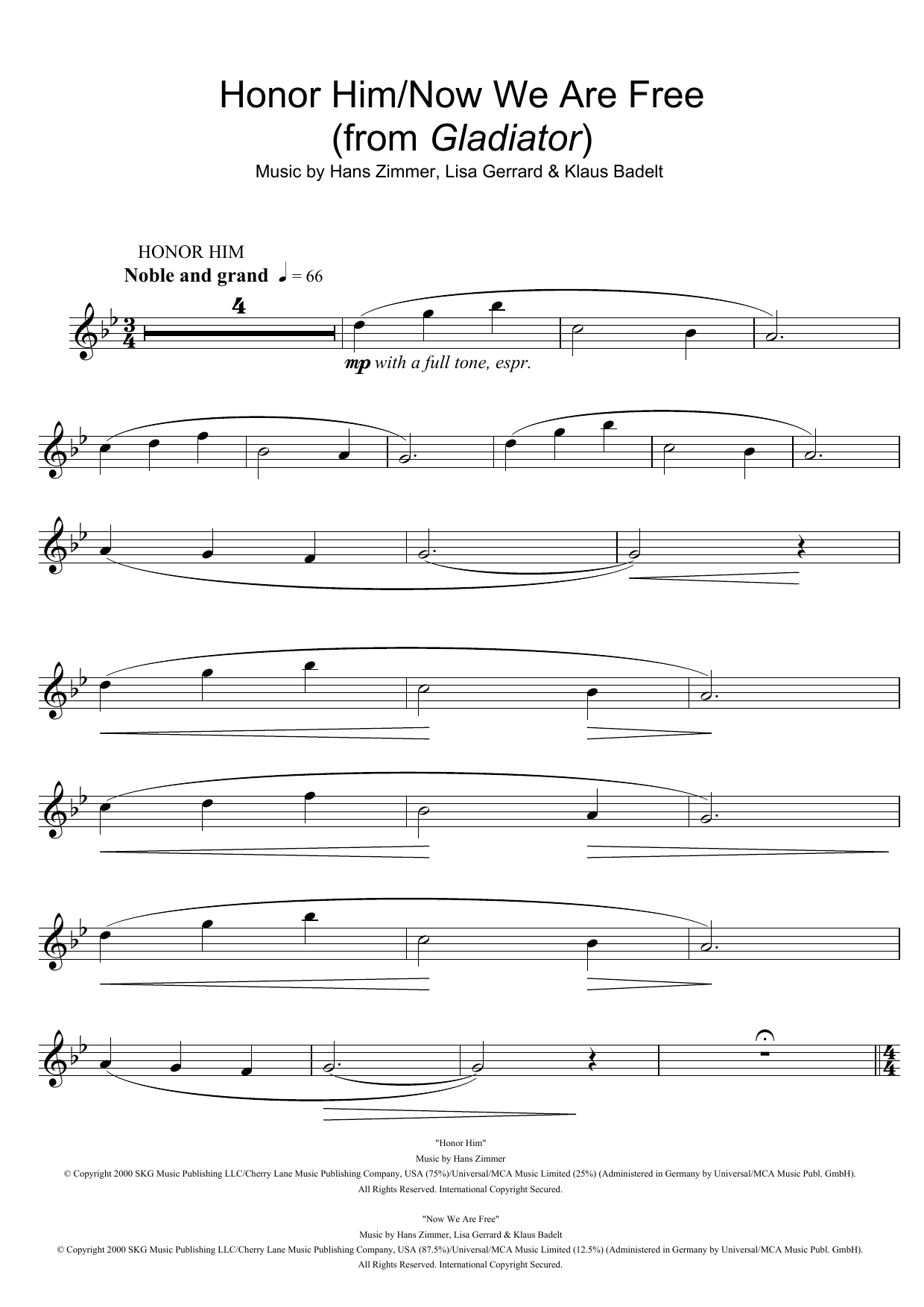 Honor Him/Now We Are Free (from Gladiator) Sheet Music