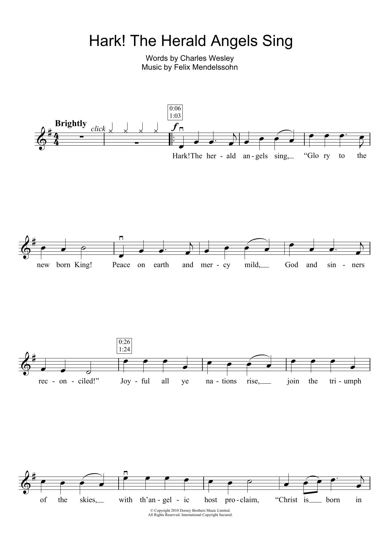 Hark The Herald Angels Sing Sheet Music Christmas Carol