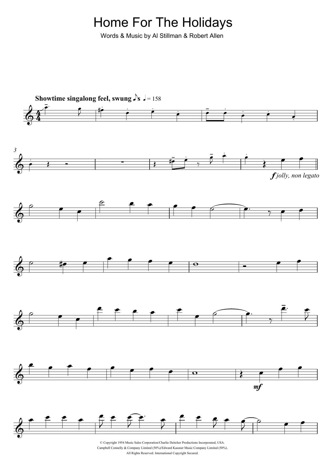 Theres No Place Like Home For The Holidays Sheet Music Perry