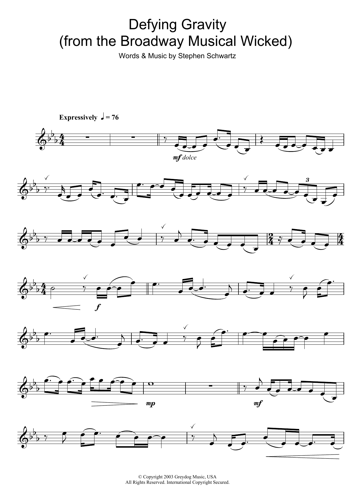 Defying Gravity From The Broadway Musical Wicked Sheet Music