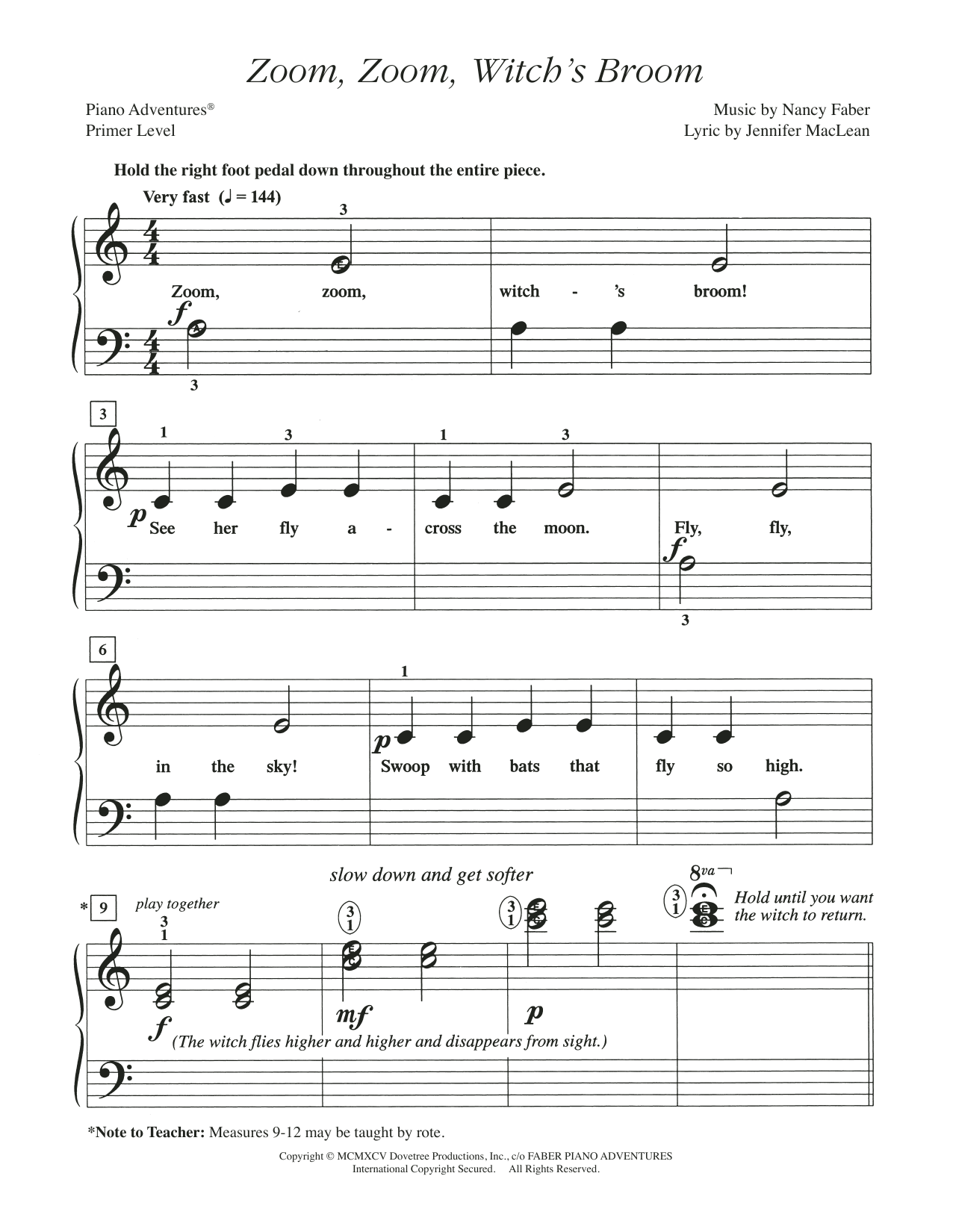 Zoom, Zoom, Witch's Broom Sheet Music