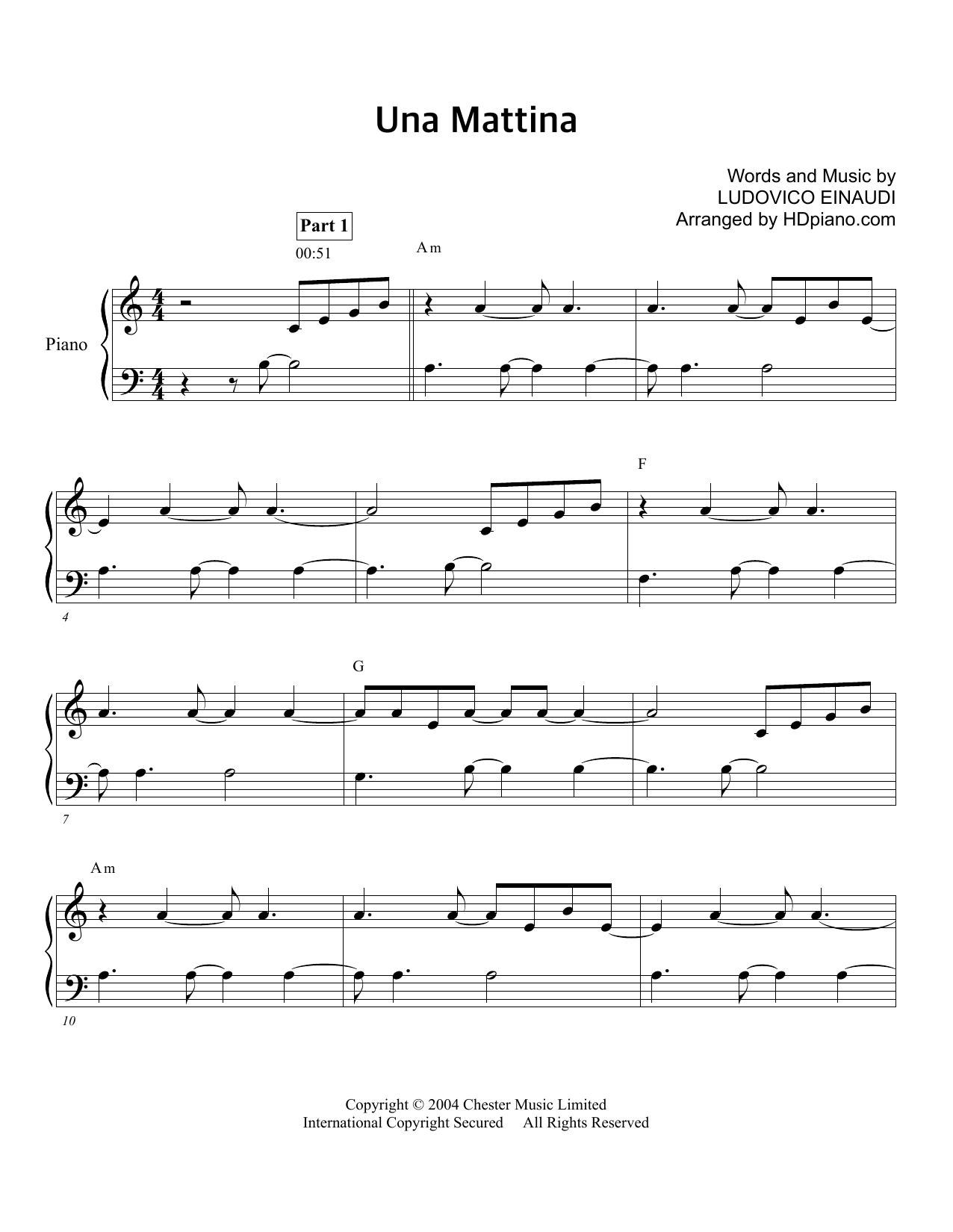 Nuvole Bianche Ludovico Einaudi Sheet Music