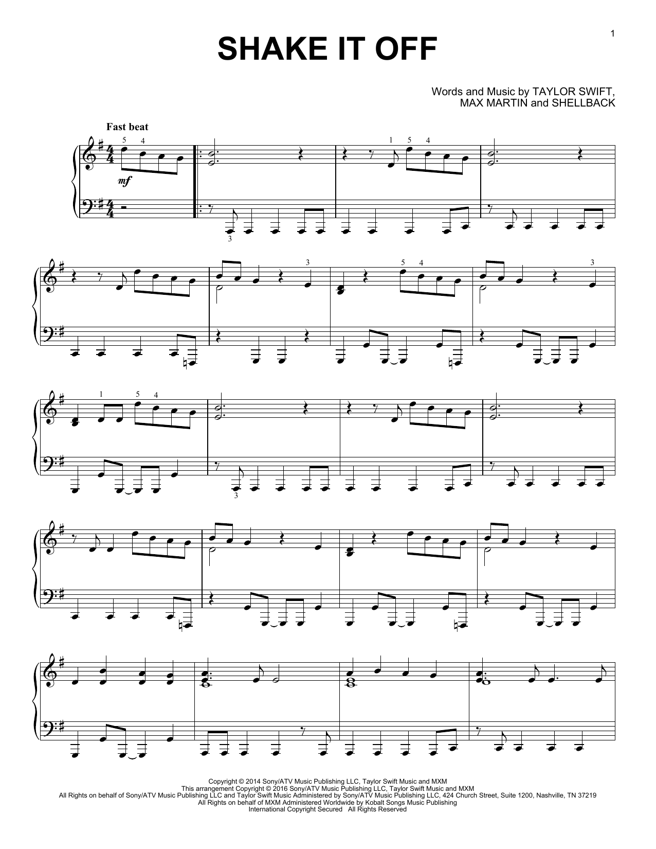 Shake It Off (Piano Solo)