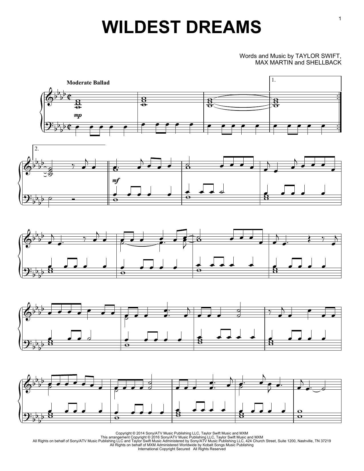 Wildest Dreams (Piano Solo)