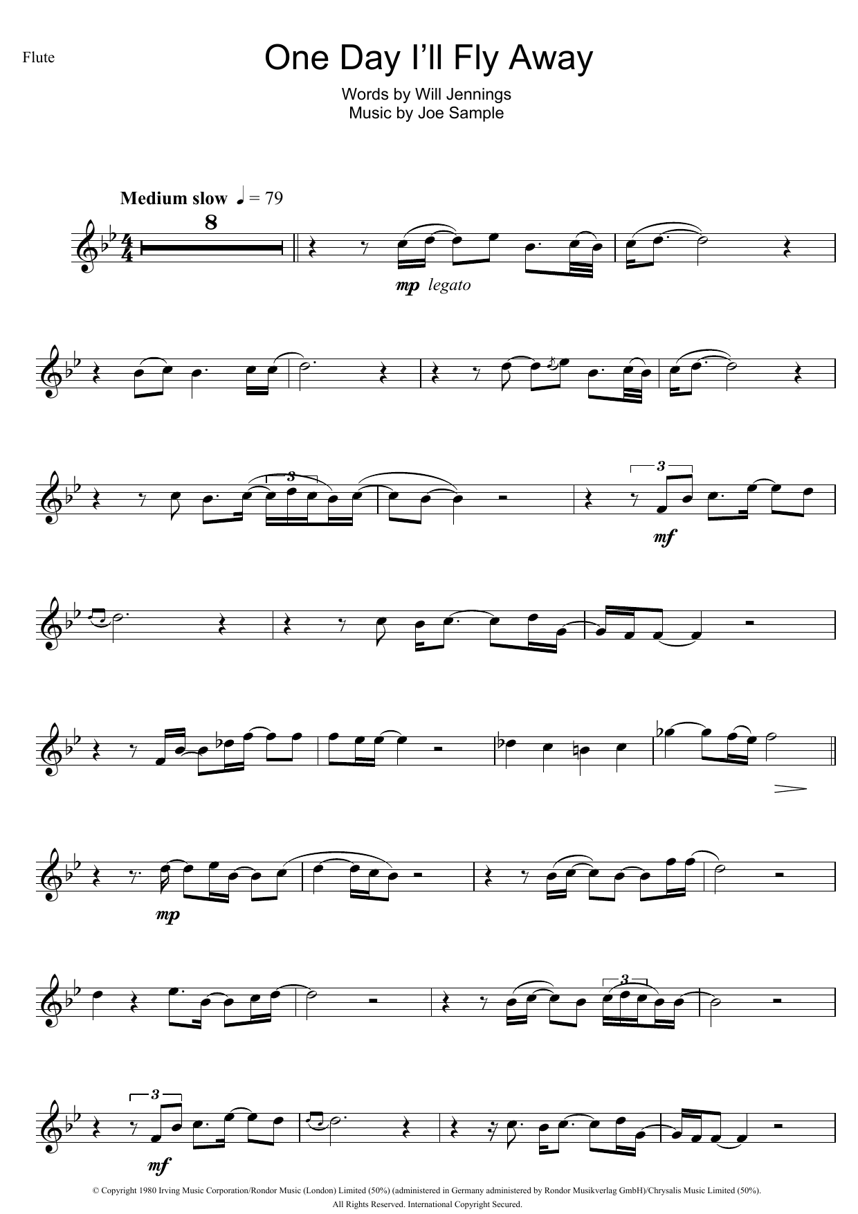 One Day Ill Fly Away Sheet Music Randy Crawford Flute