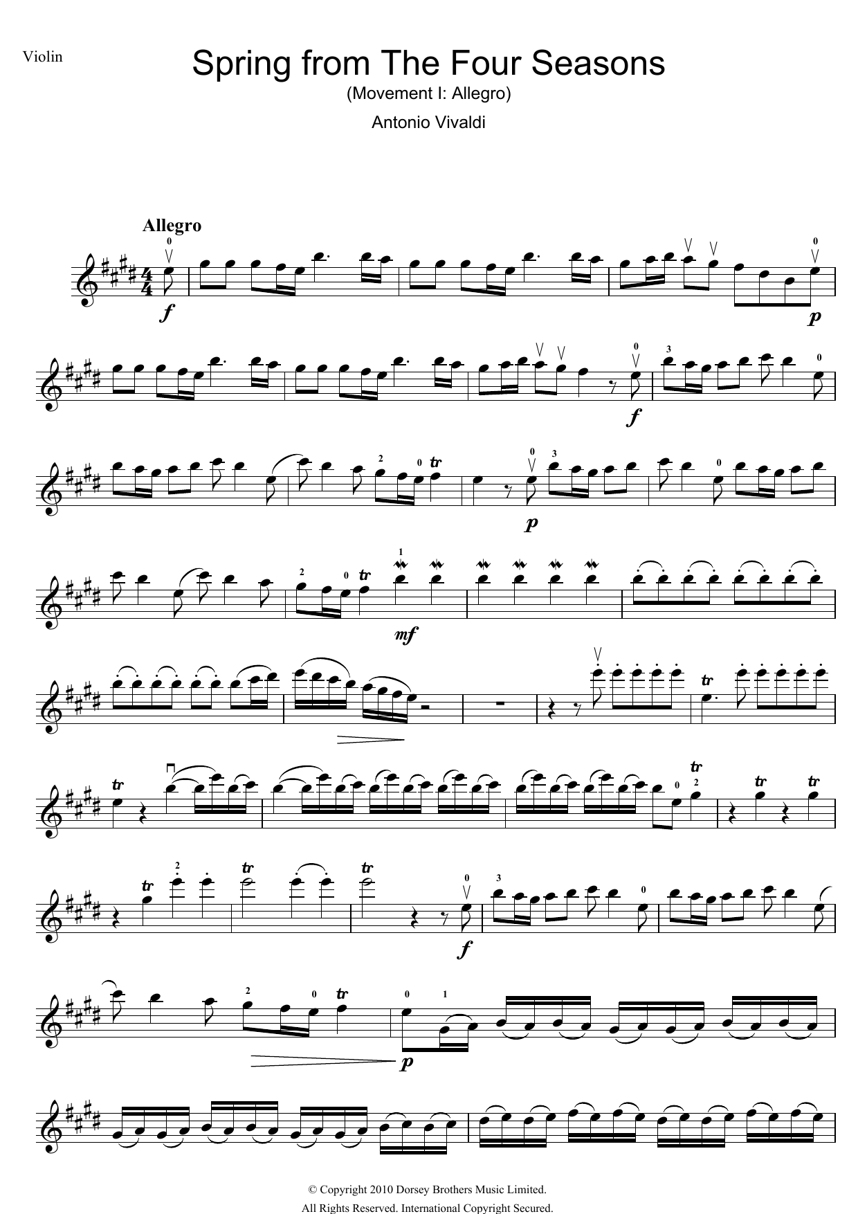 Spring From The Four Seasons By Antonio Vivaldi 5 Finger Piano Digital Sheet Music