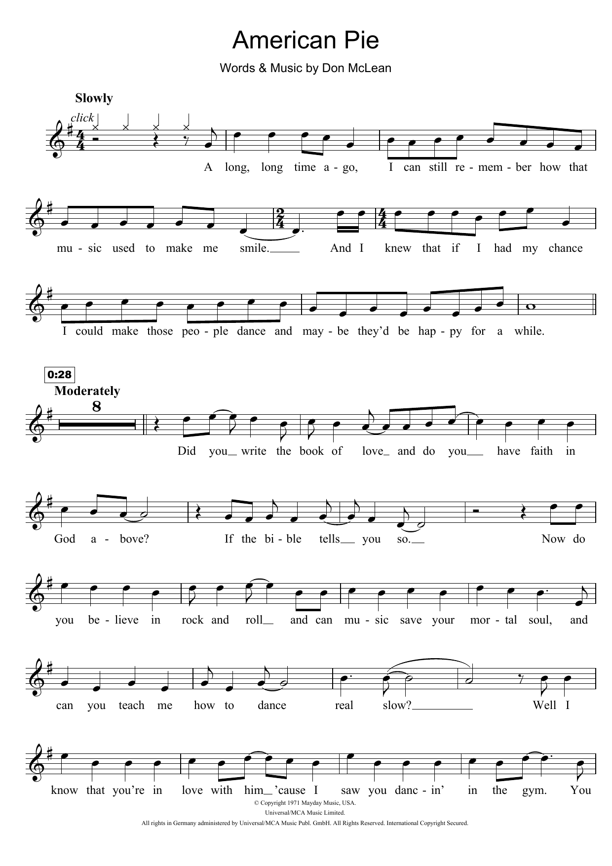 American Pie Sheet Music