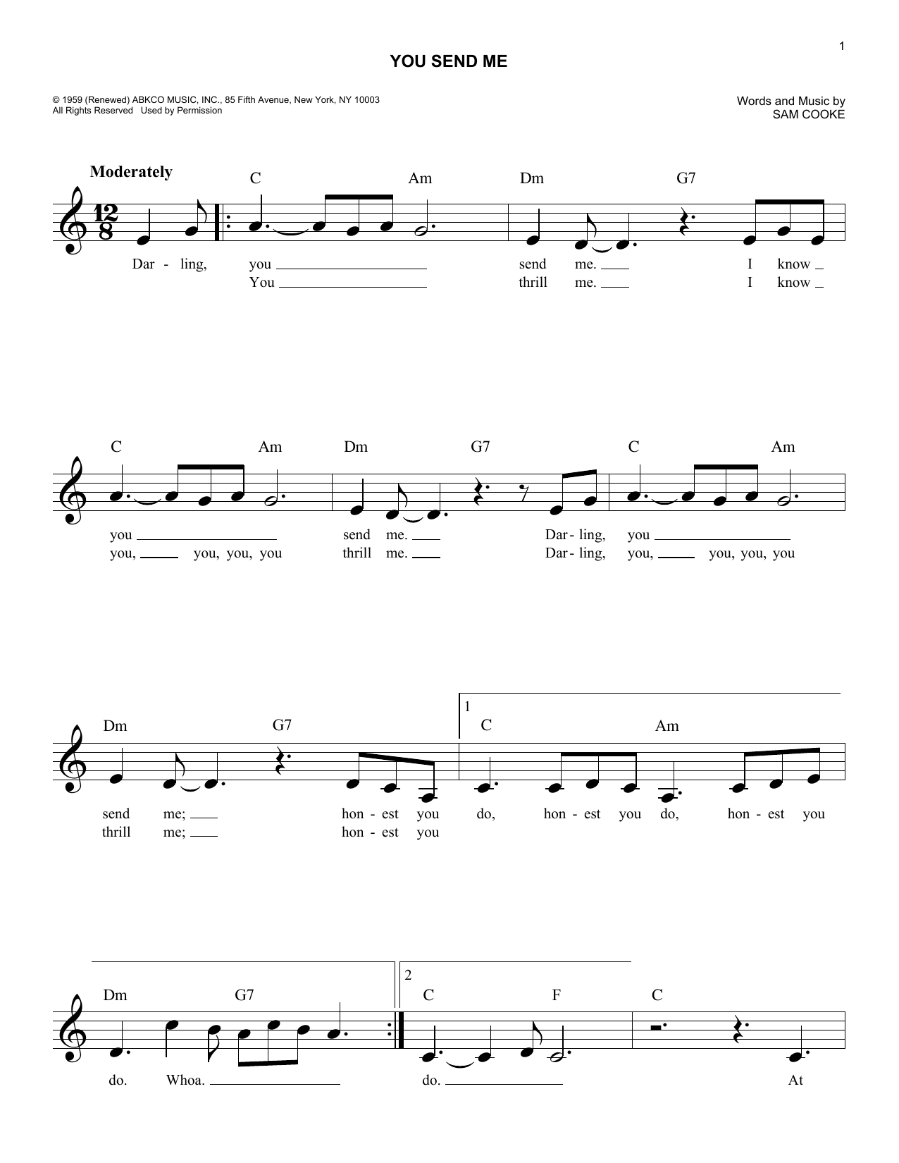 You Send Me Sheet Music