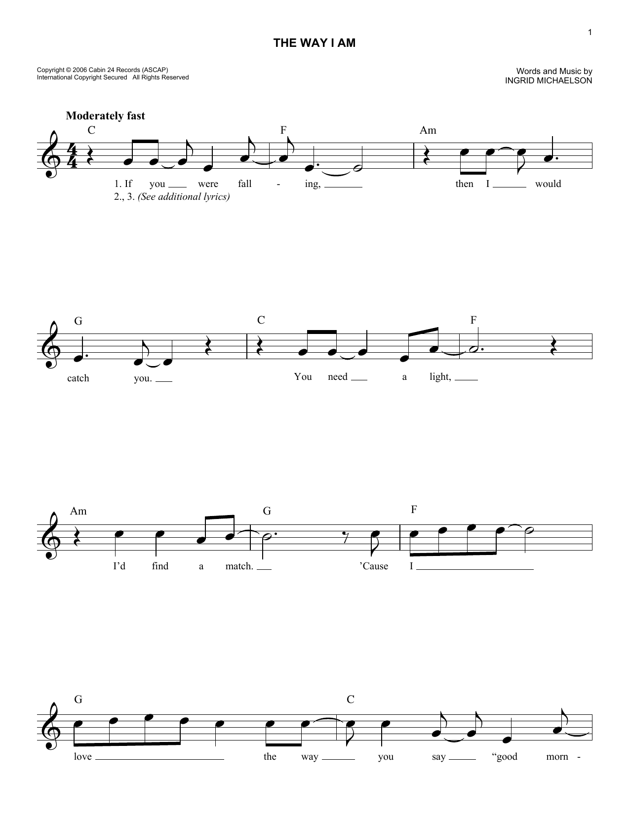 The Way I Am Sheet Music