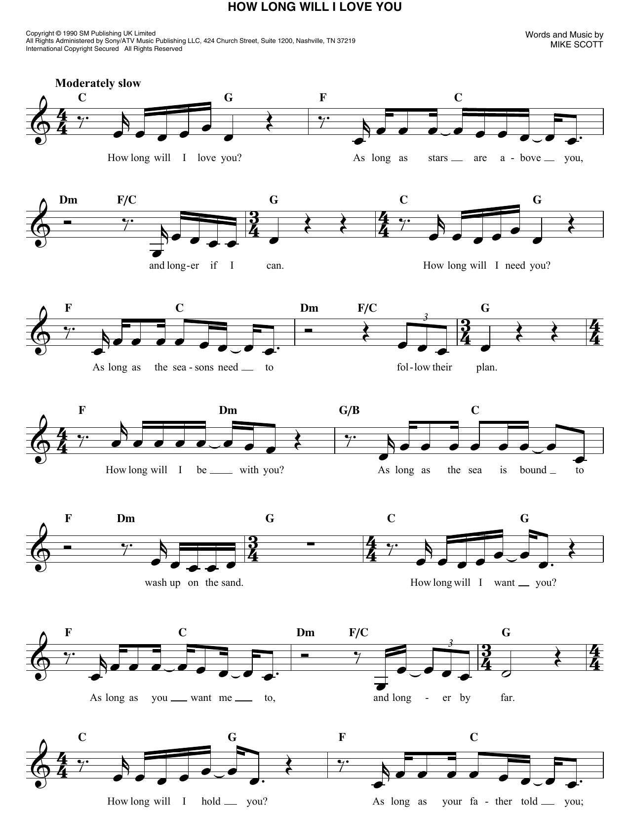 How Long Will I Love You Sheet Music