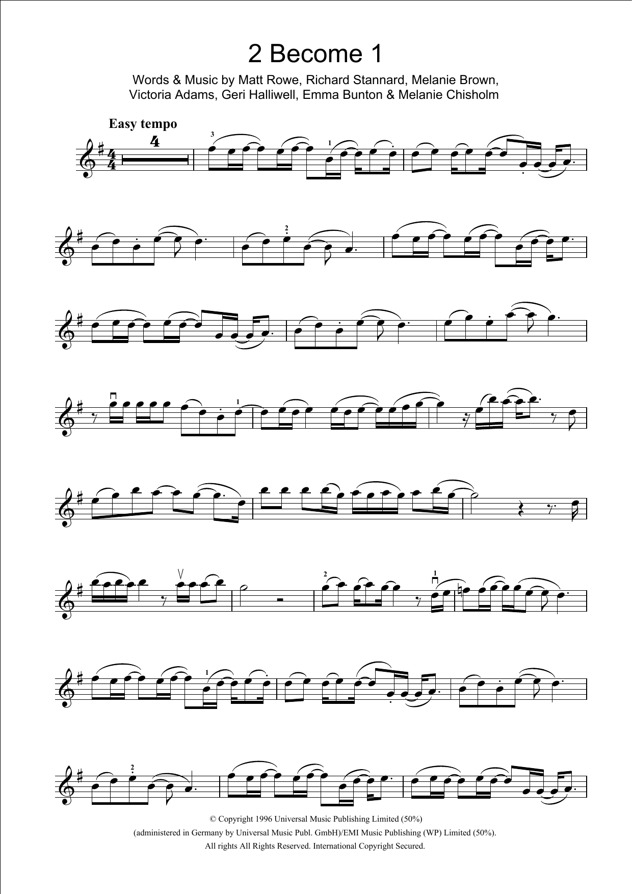 2 Become 1 Sheet Music
