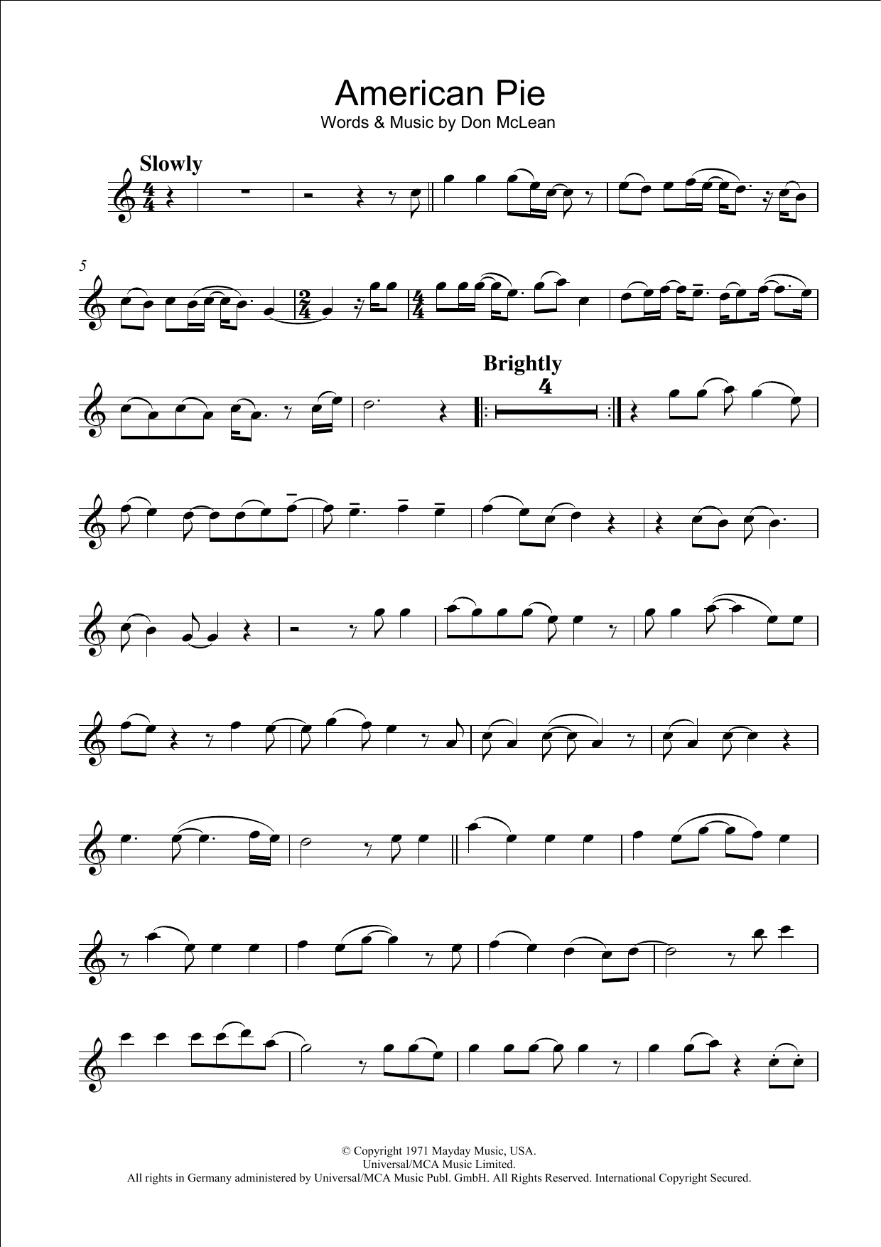 American Pie Sheet Music Don Mclean Flute