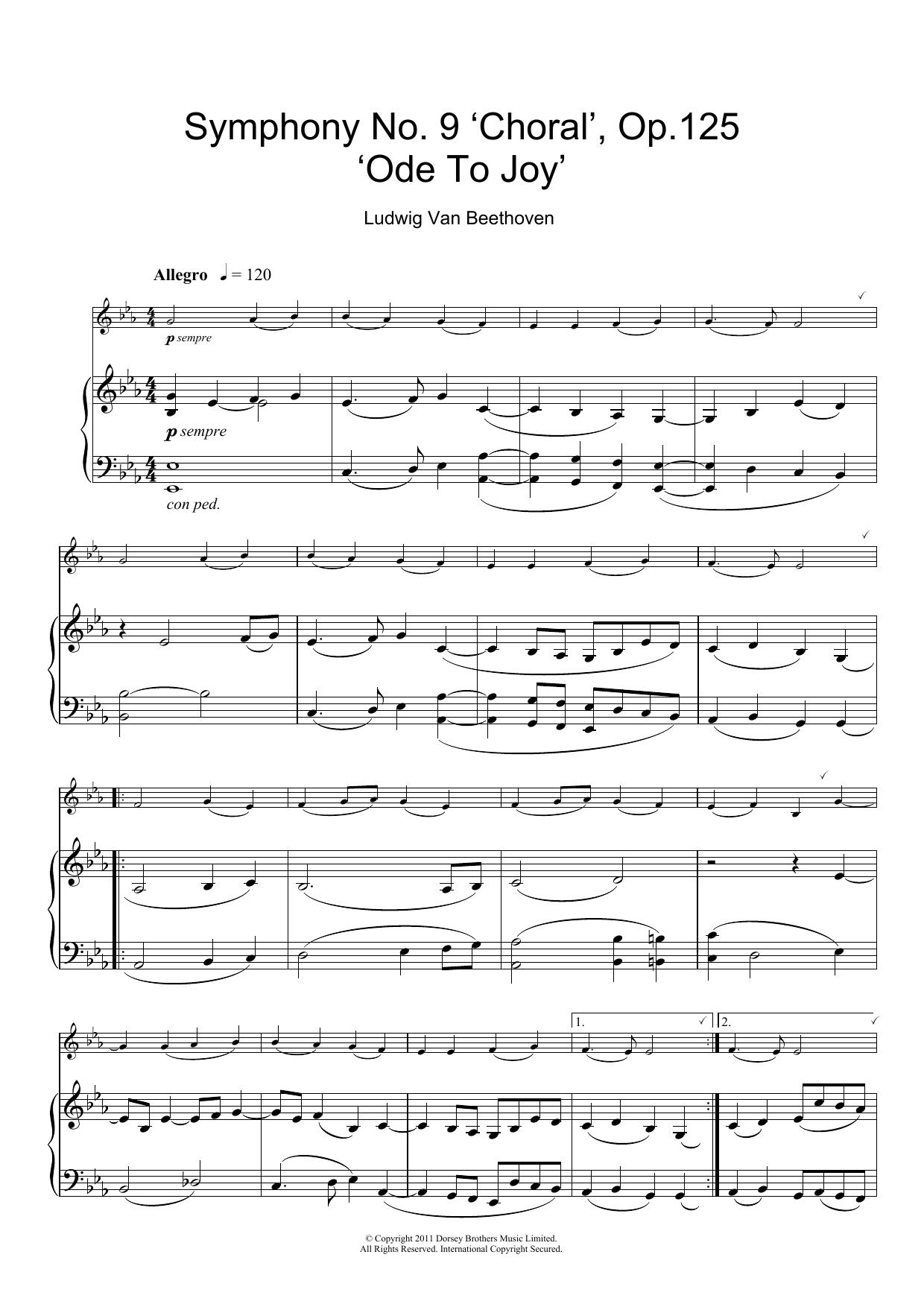 beethoven ode to joy piano sheet music pdf
