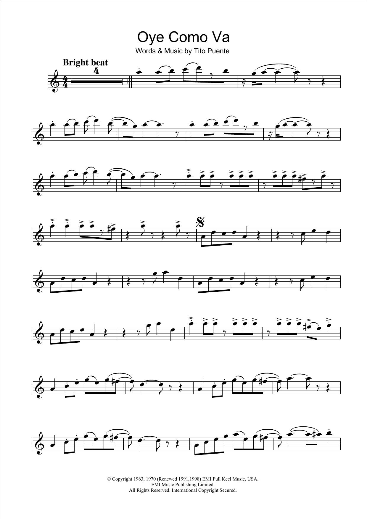 Oye Como Va Sheet Music