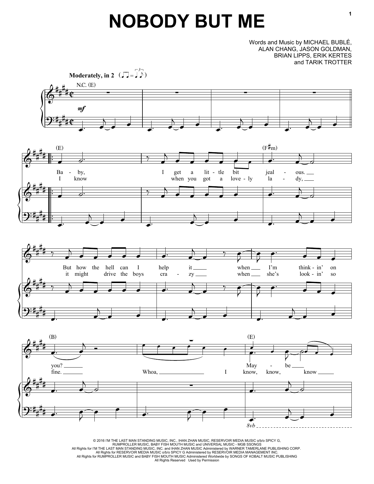 Nobody But Me Sheet Music