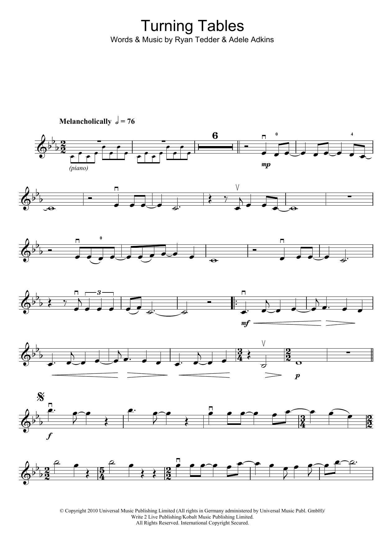 Turning Tables Sheet Music Adele Violin