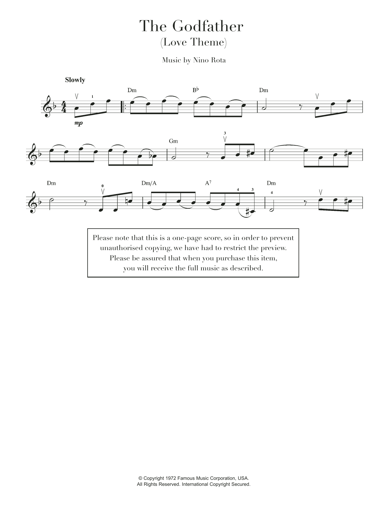Theme from The Godfather Sheet Music