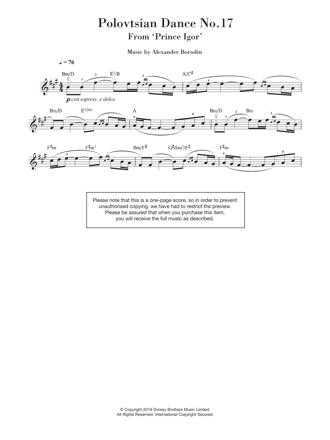 Polovtsian Dance No.17 (from 'Prince Igor') Sheet Music