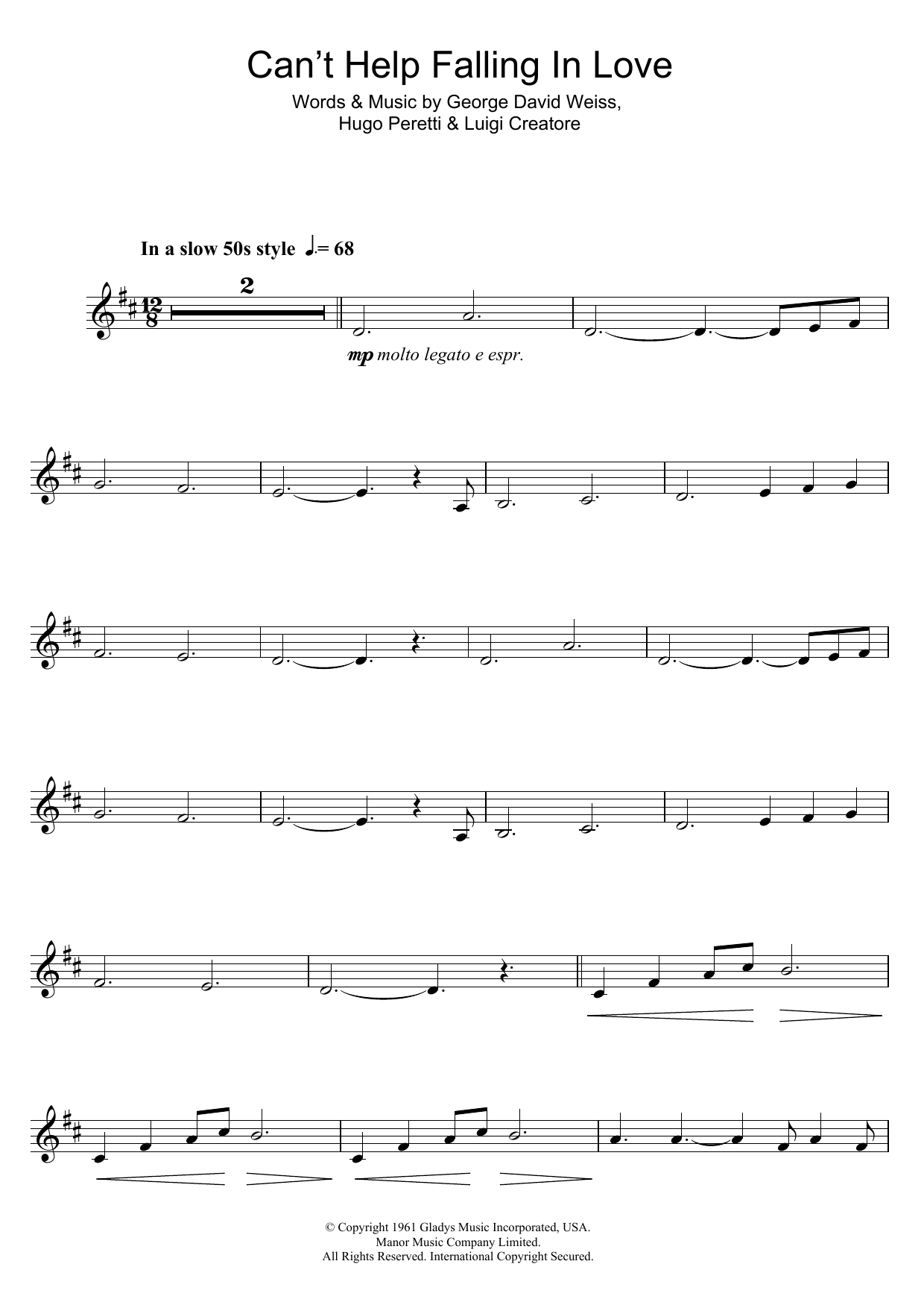 Can't Help Falling In Love (Clarinet Solo)