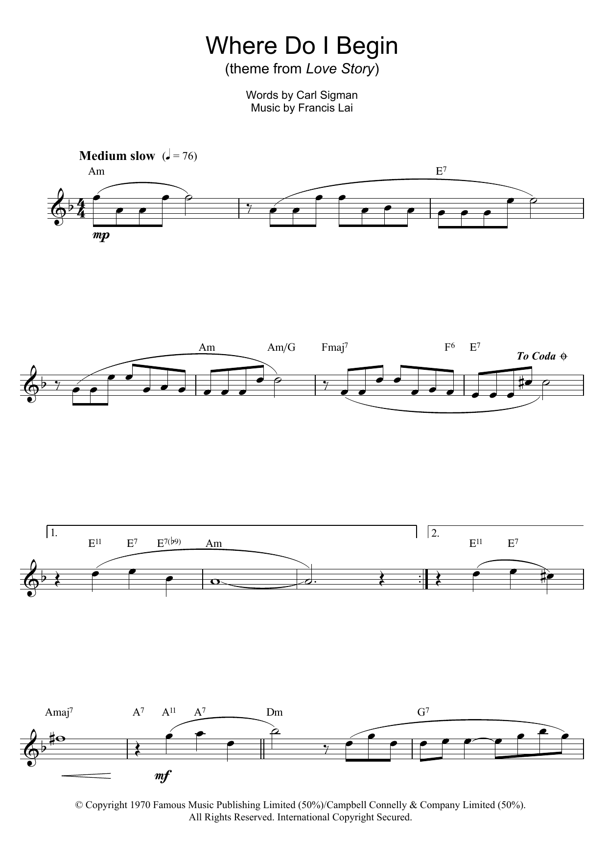Where Do I Begin (theme from Love Story) (Flute Solo)