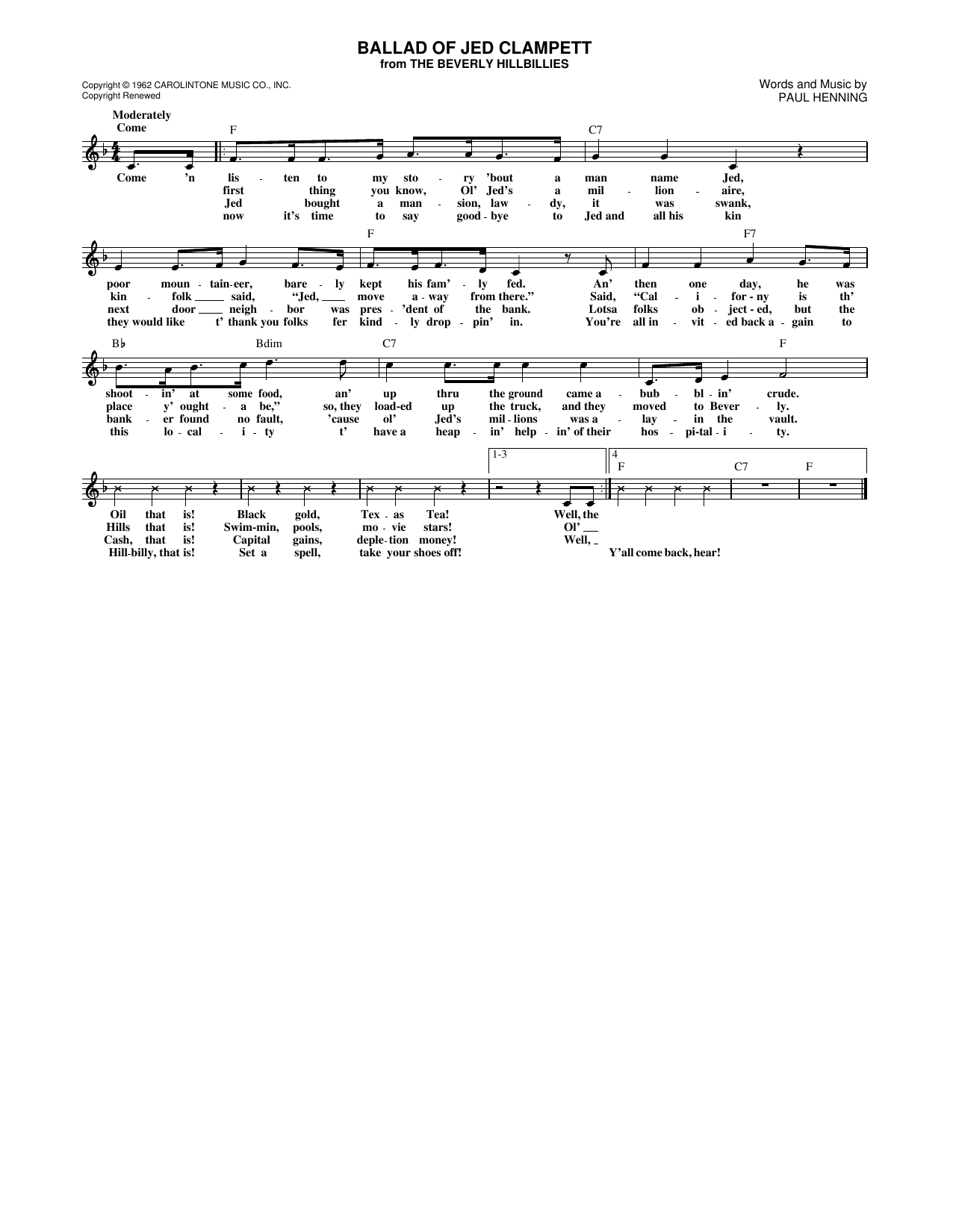 Ballad Of Jed Clampett (from The Beverly Hillbillies) (Lead Sheet / Fake Book)