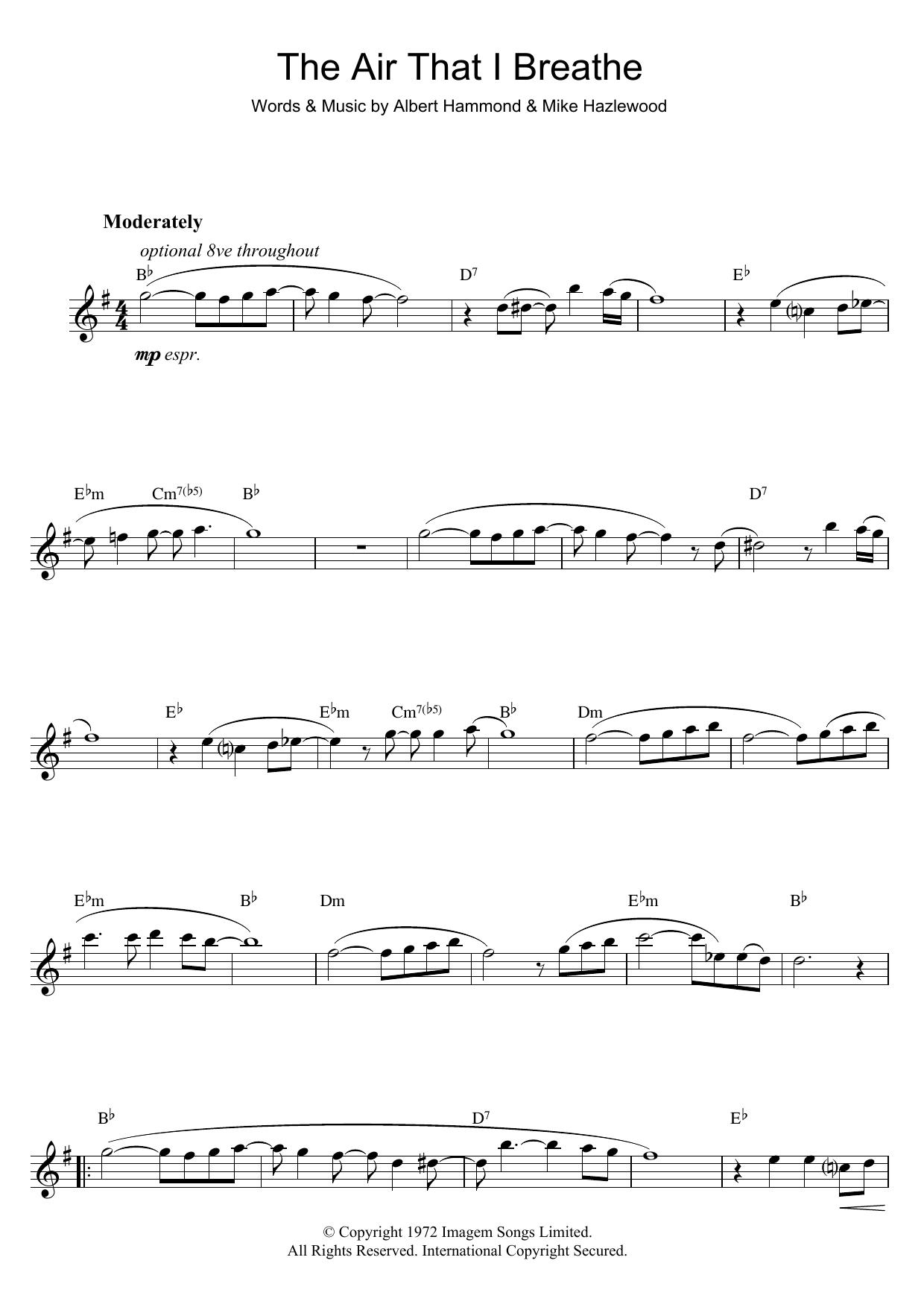 The Air That I Breathe (Alto Sax Solo)