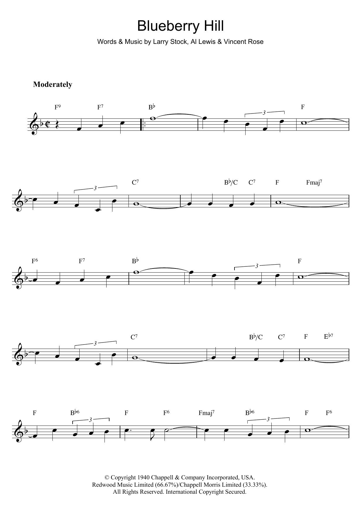 Blueberry hill sheet music direct sheet preview blueberry hill hexwebz Images