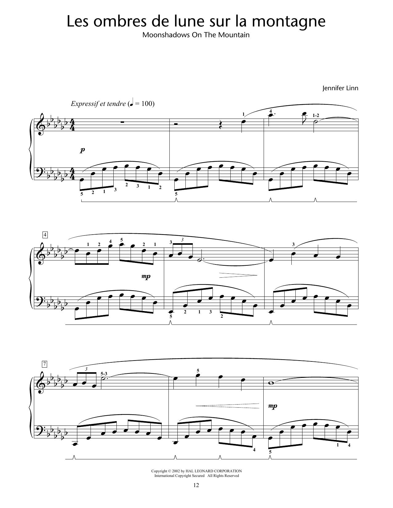 Les ombres de lune sur la montagne (Moonshadows On The Mountain) (Educational Piano)